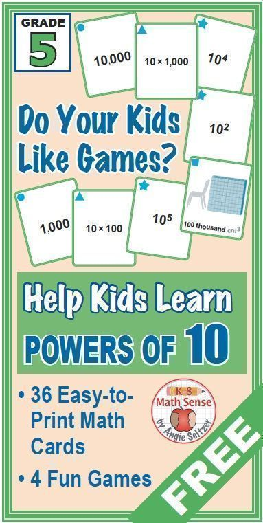 This set of 36 printable math cards will help kids understand powers ...