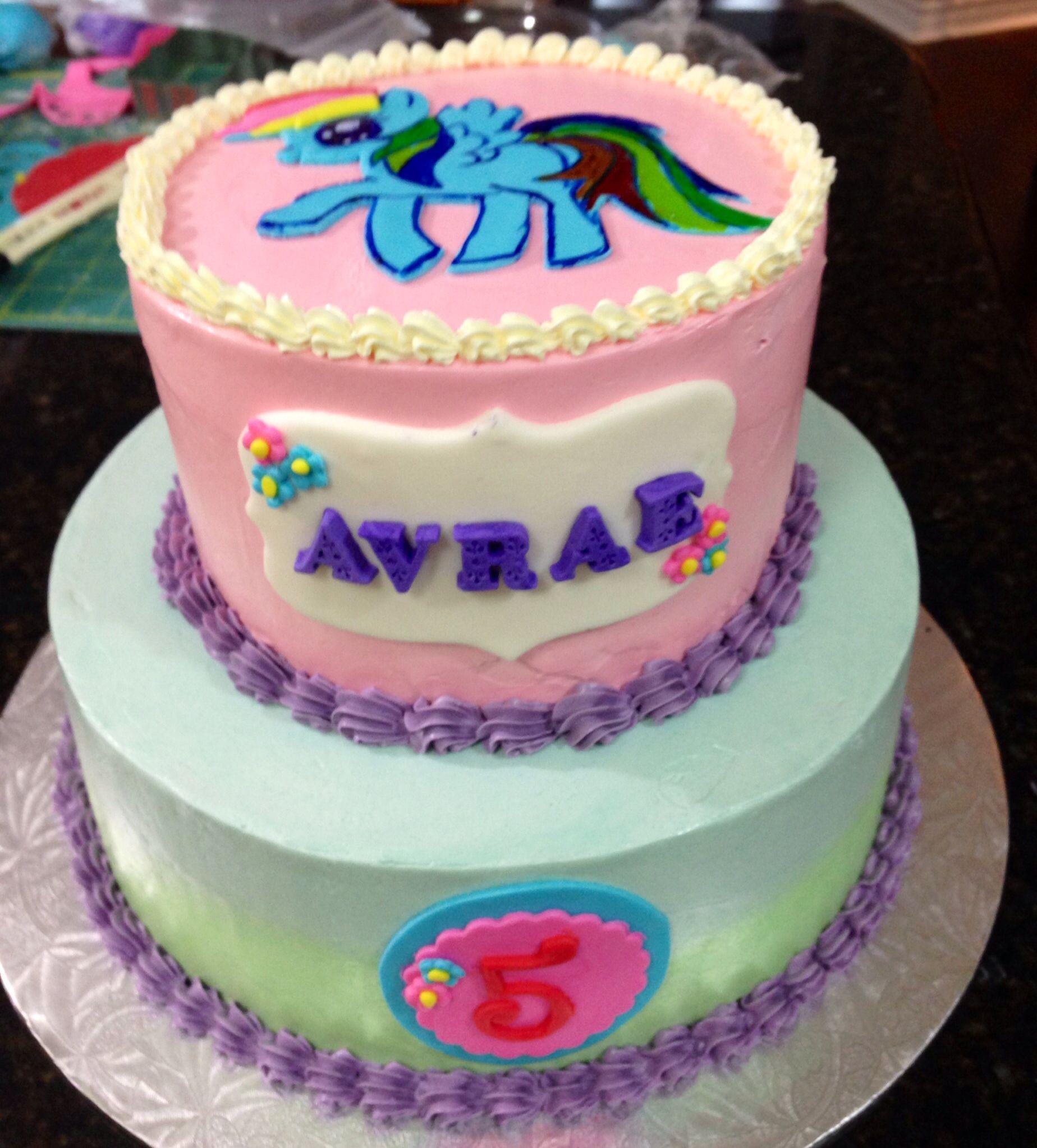 Rainbow Dash 2-tiered Buttercream Cake