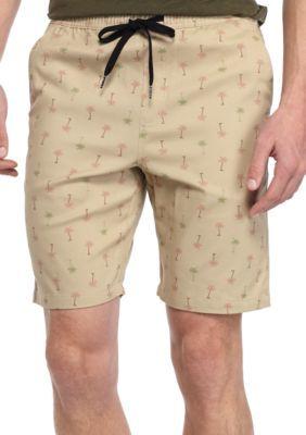 Brooklyn CLOTH Mfg. Co Khaki Palm Tree Printed Jogger Shorts ...