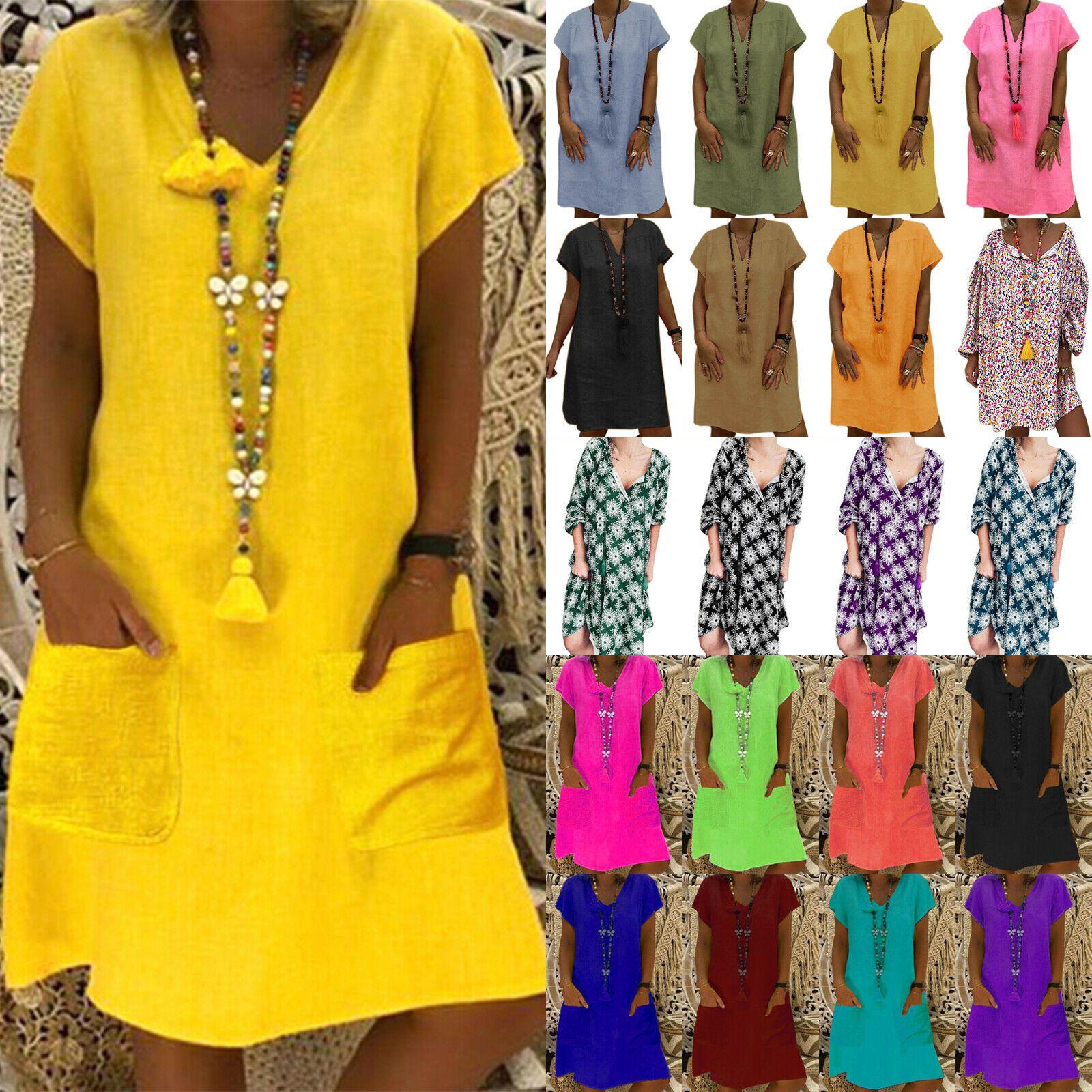 Mode Kleid High Waist Casual Beachwear Minikleid Damen V-Ausschnitt Partykleid