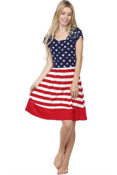 Stars and Stripes Patriotic American Flag Womens Skater Dress ...