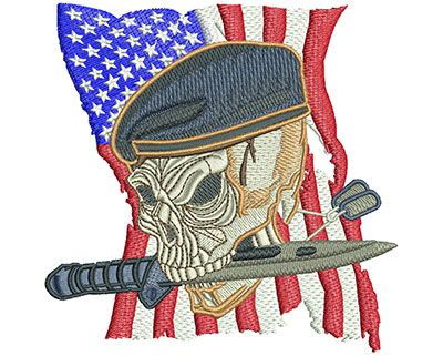 Skull Beret American Military Machine Embroidery Design Or Pattern