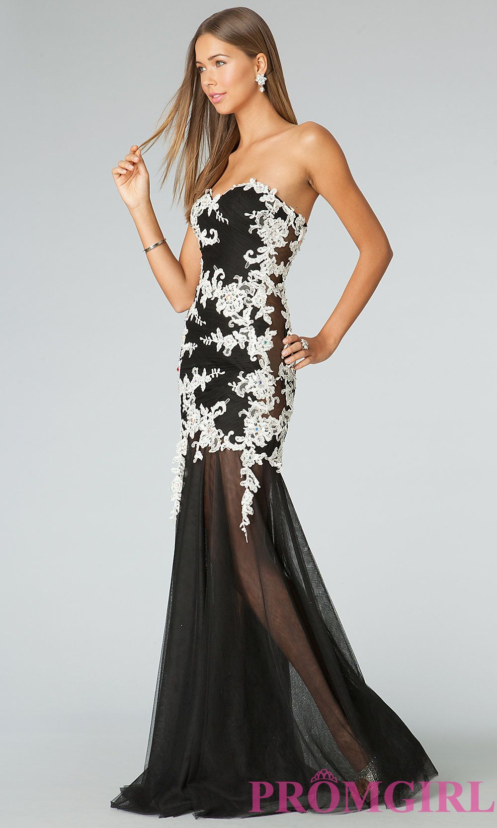 Long black and white lace gown from jvn by jovani prom white lace