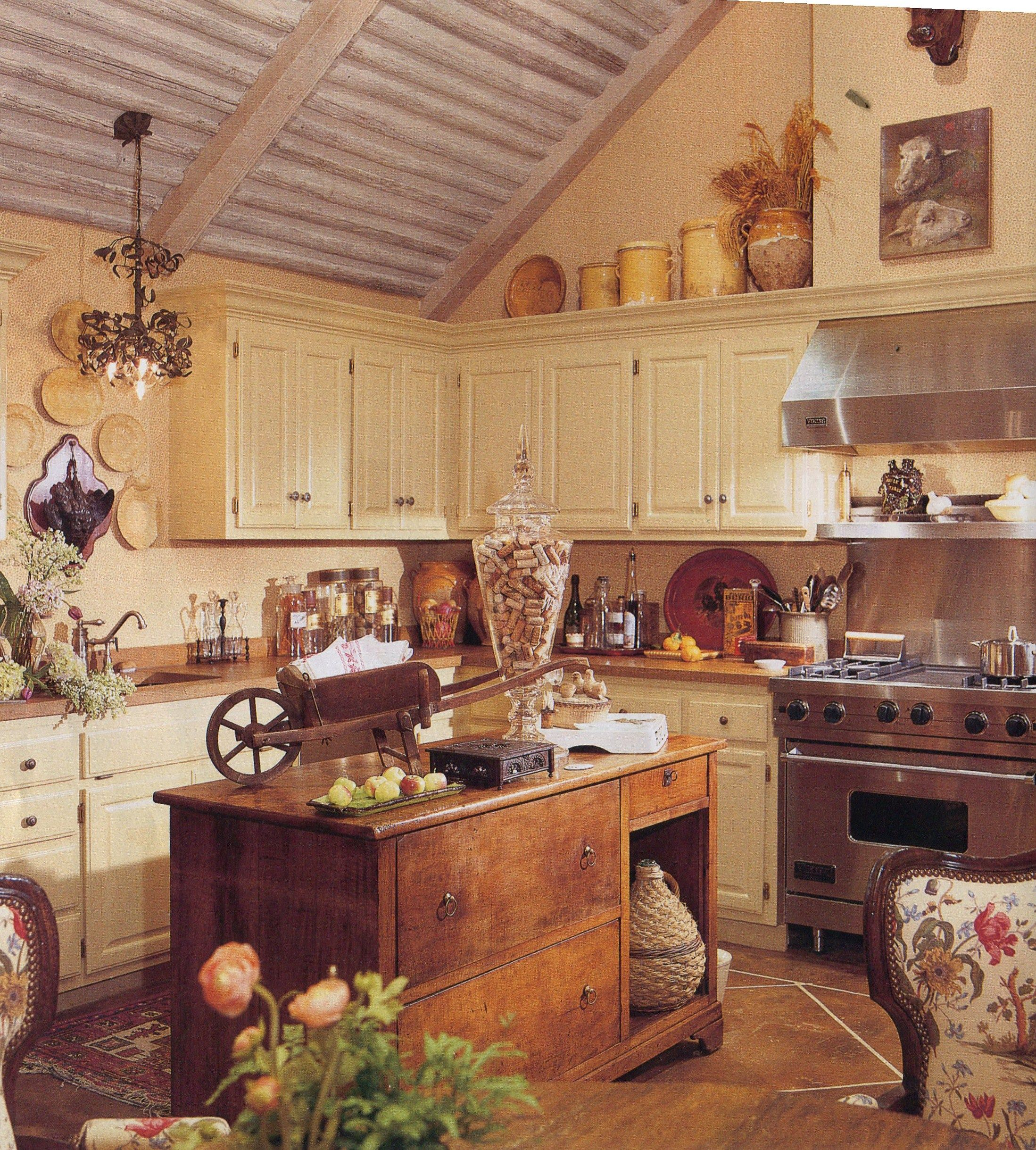 Open Concept French Country Kitchen Home Design Ideas: Kitchen - Rustic Elements, Vaulted Ceiling