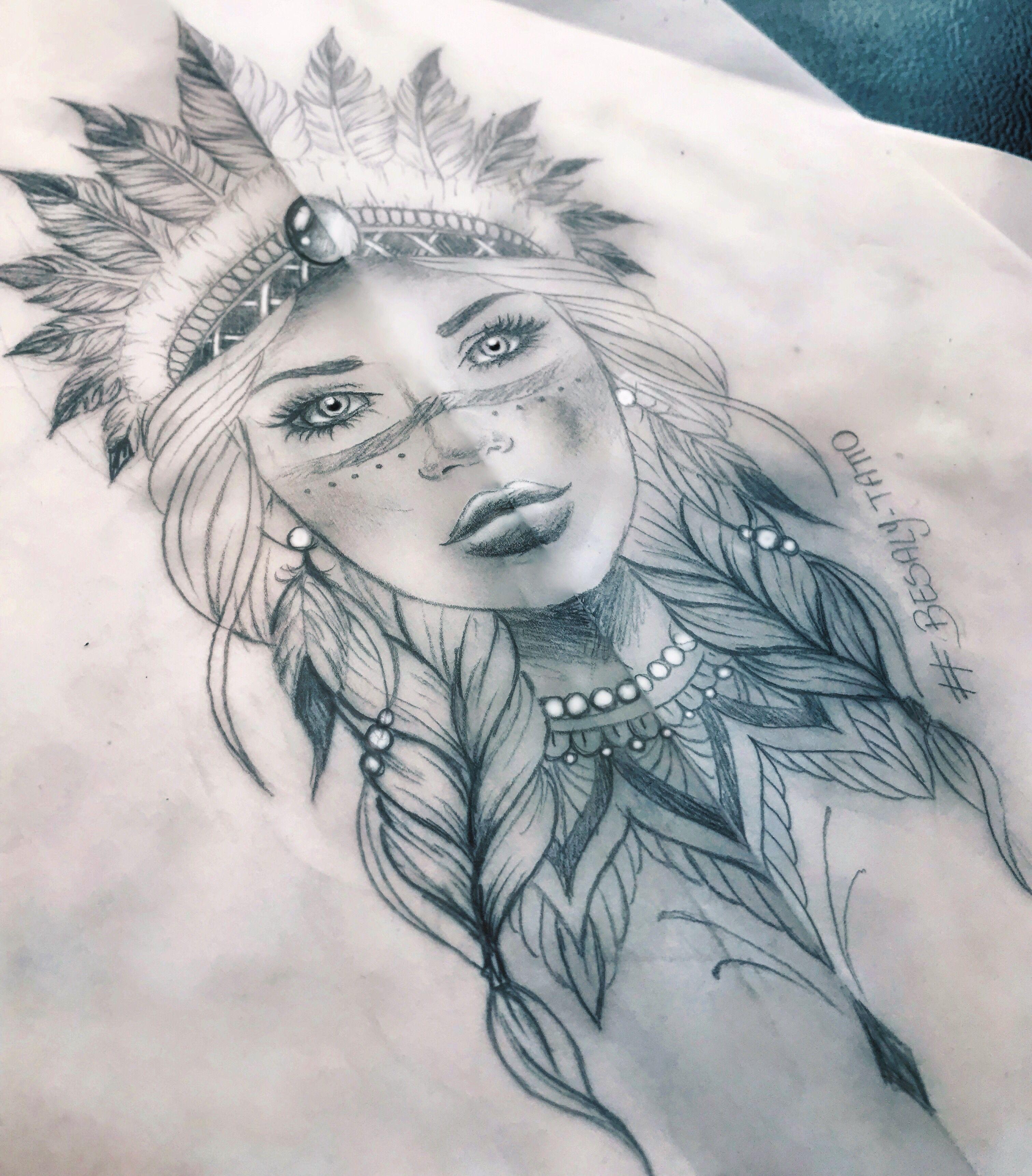 Native Indian Girl Tattoo In 2020 Native Indian Tattoos Indian Girl Tattoos Indian Tattoo