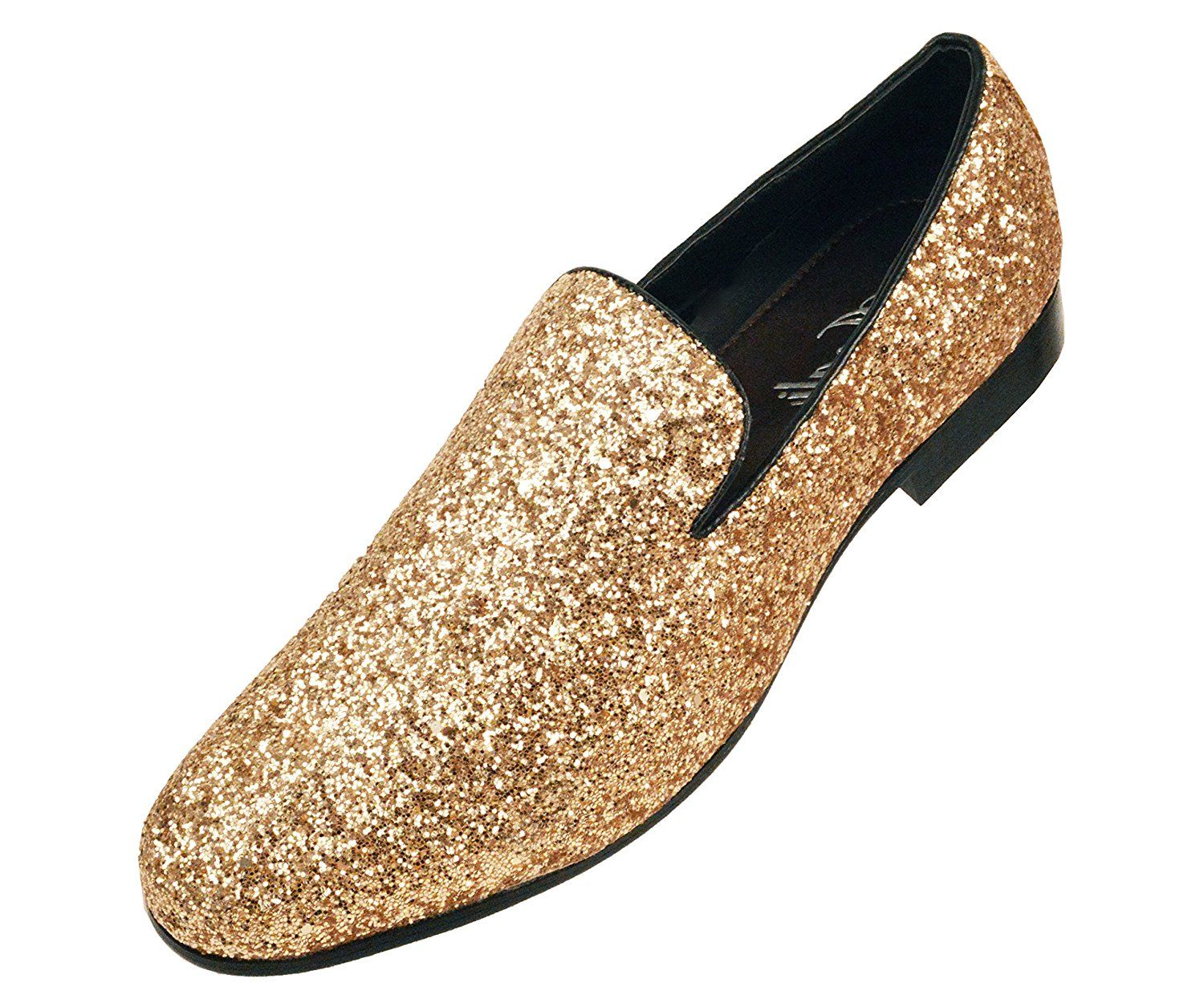 Men's Metallic Glitter Sequins Loafers Dress Shoes Tuxedo Slip on Smoking Slippers Gold/Silver