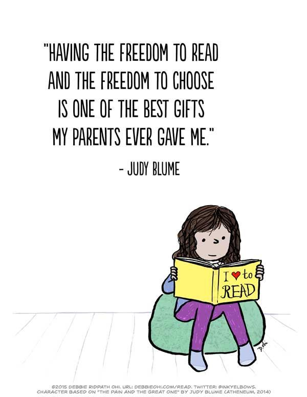 The Freedom To Read Free Print Ready Poster Of One Of My Favorite Judy Blume Quotes Bannedbooksweek Inkygirl Gu Book Quotes Reading Quotes Library Quotes