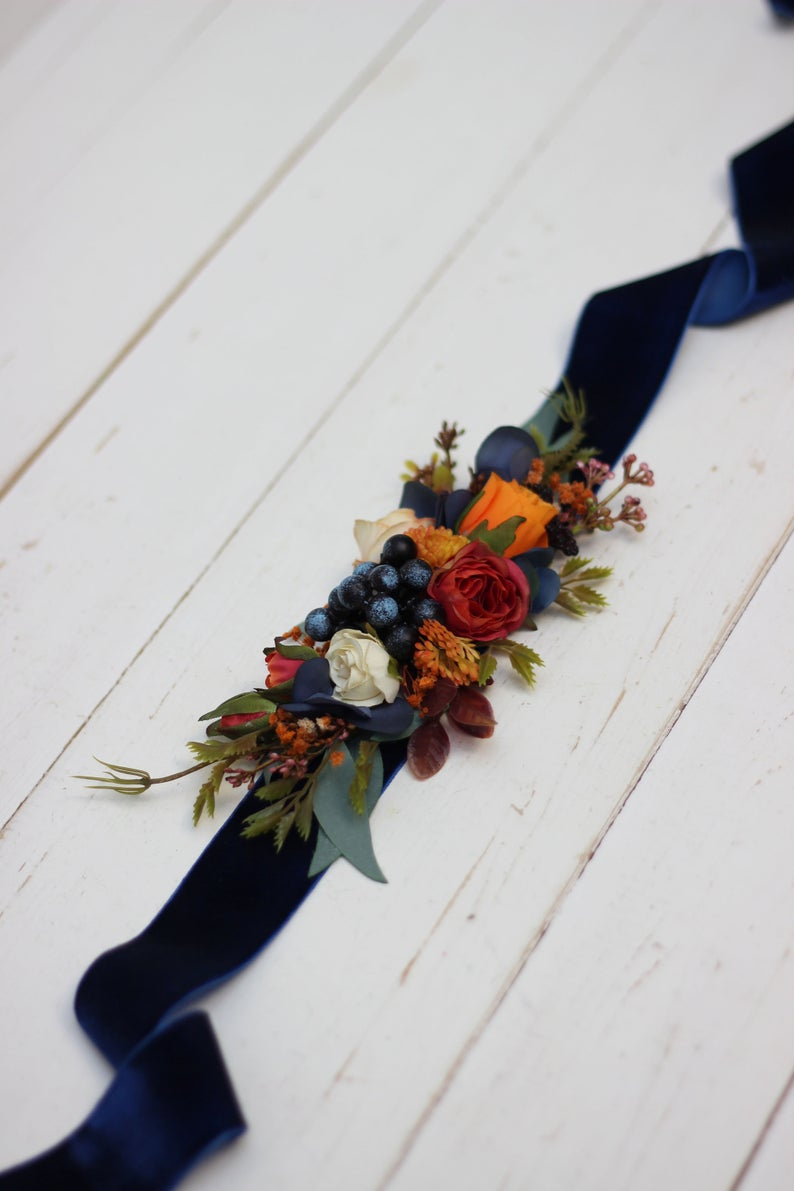 Orange navy blue flower belt Fall wedding Floral sash Bridal belt Flower girl belt