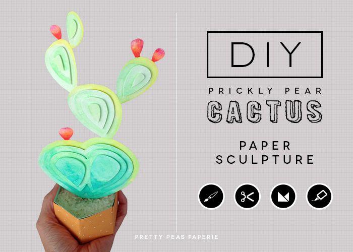 diy watercolored cactus paper sculpture tutorial template by