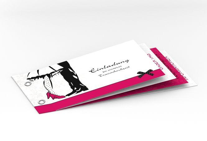 """Hochzeitseinladung """"Straßburg"""" Booklet pink"""