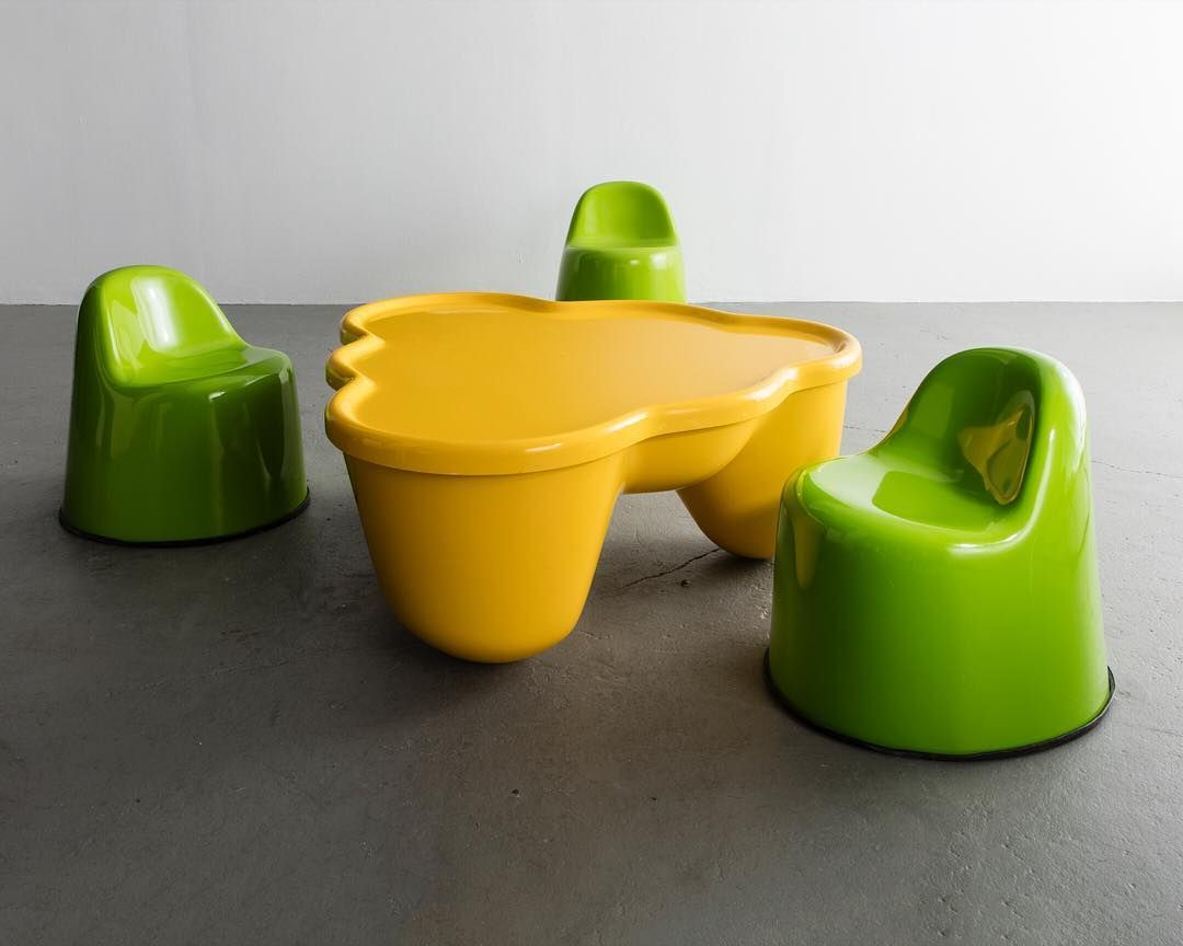 """Cue the weekend with Wendell Castle's 1969 """"Molar Group Baby Molar"""" chairs and coffee table (fewer than twenty-four examples of this table were produced), in gel-coated fiberglass-reinforced plastic. Contact us at r@r-and-company.com to add one of these rare pieces to your collection."""