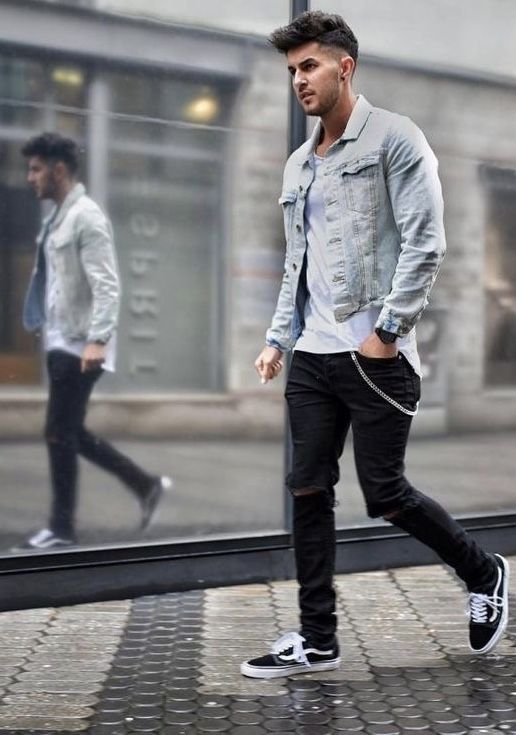 Fall Outfit Inspiration With A Denim Jacket White T Shirt Black Ripped Denim Black Old Skool Mens Fashion Chinos Mens Streetwear Urban Mens Outfit Inspiration