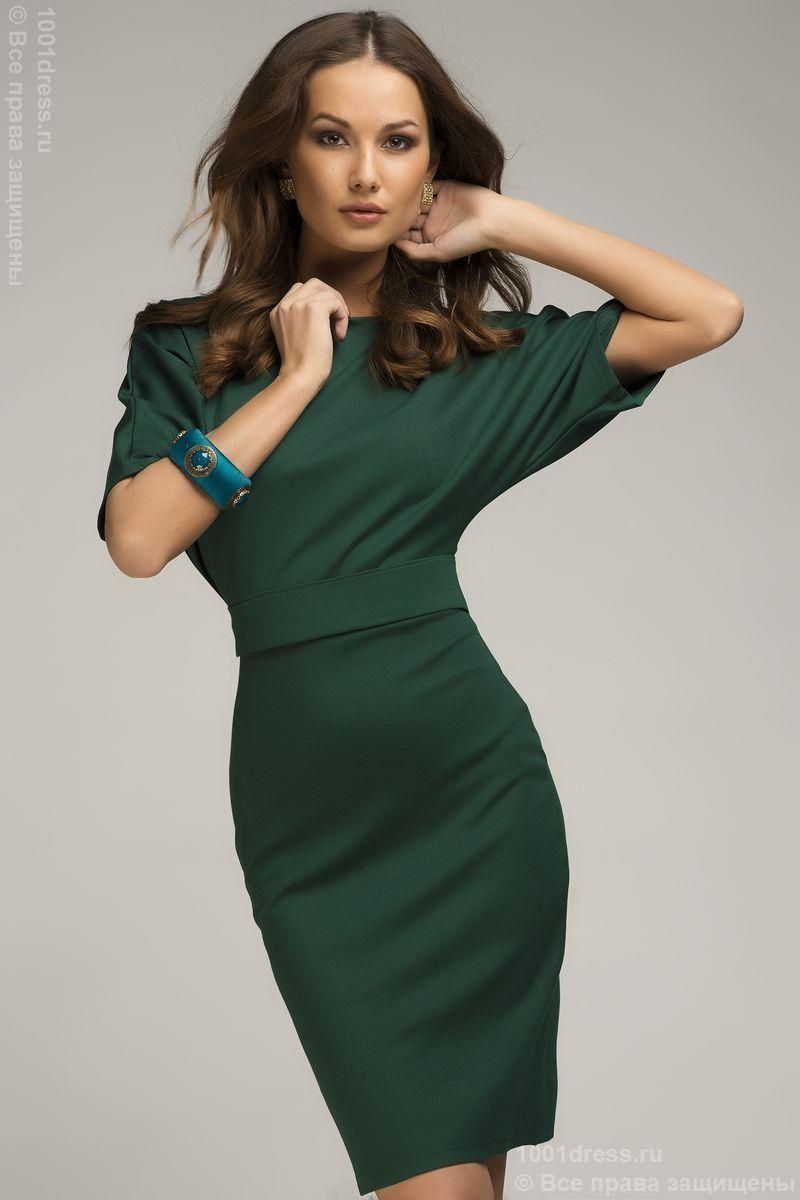 e5efa70f439b Платье изумрудное летучая мышь с поясом и рукавом 3 4 DM00211GR , зеленый в  интернет магазине Платья для самых красивых 1001dress.Ru
