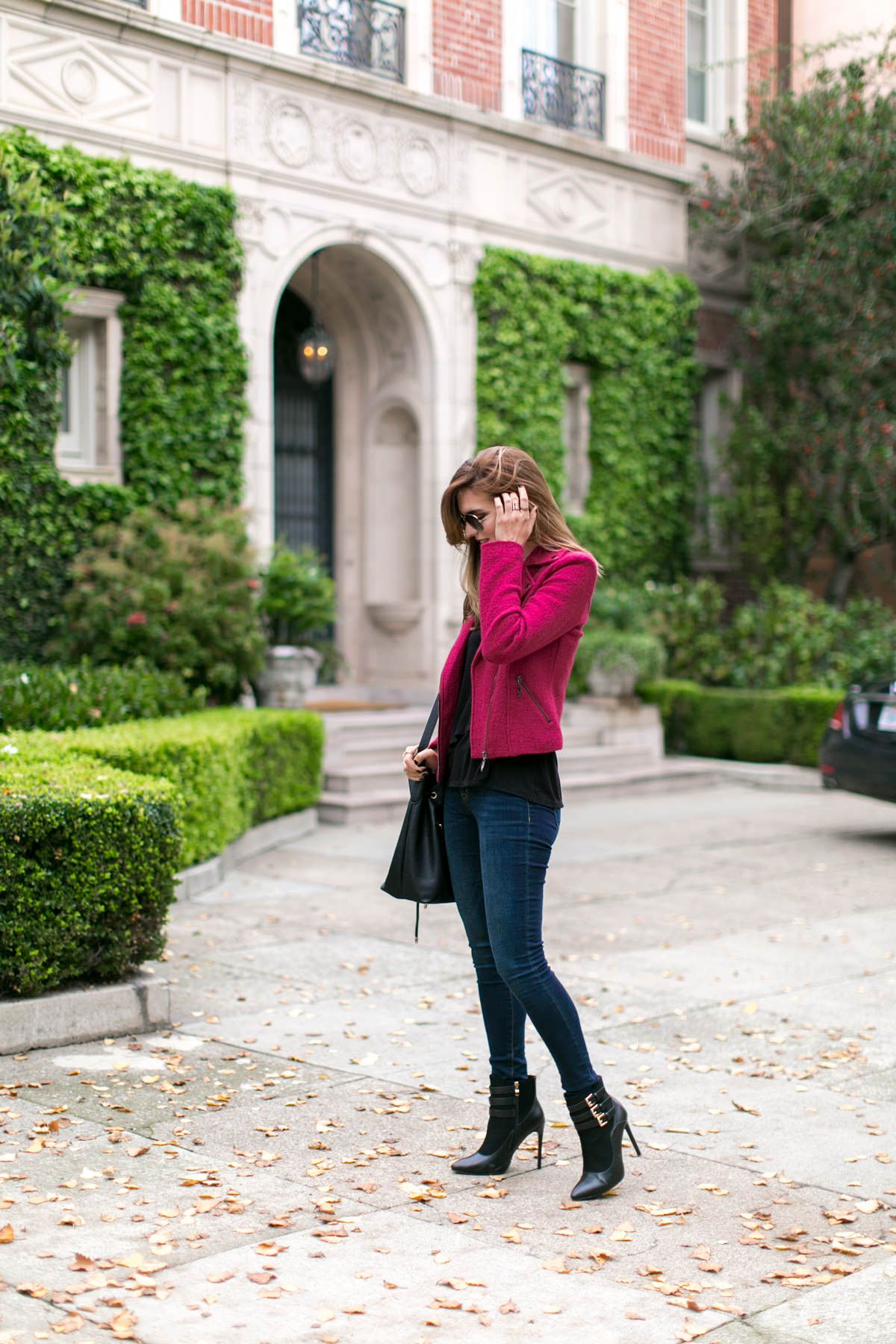 Pink and black winter outfit inspiration