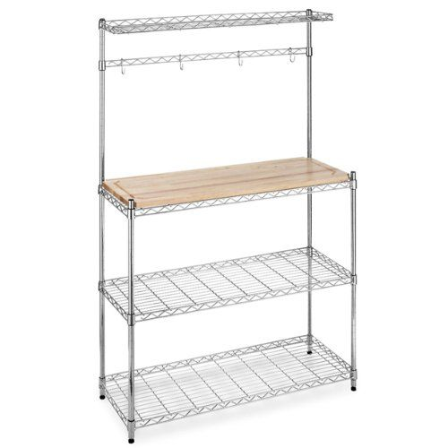 Bakers Rack with Cutting Board and Storage Chrome Shelves Kitchen