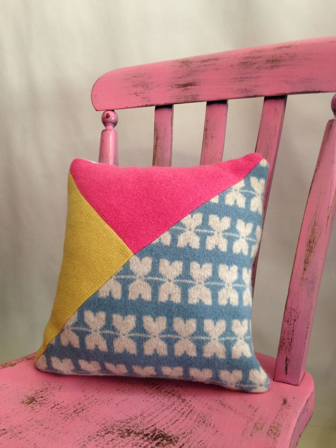 KITES Modern Appliqué Knitted Cushion, sofa pillow machine embroidered wool, pink, linen, blue, yellow by SuzieLeeKnitwear on Etsy