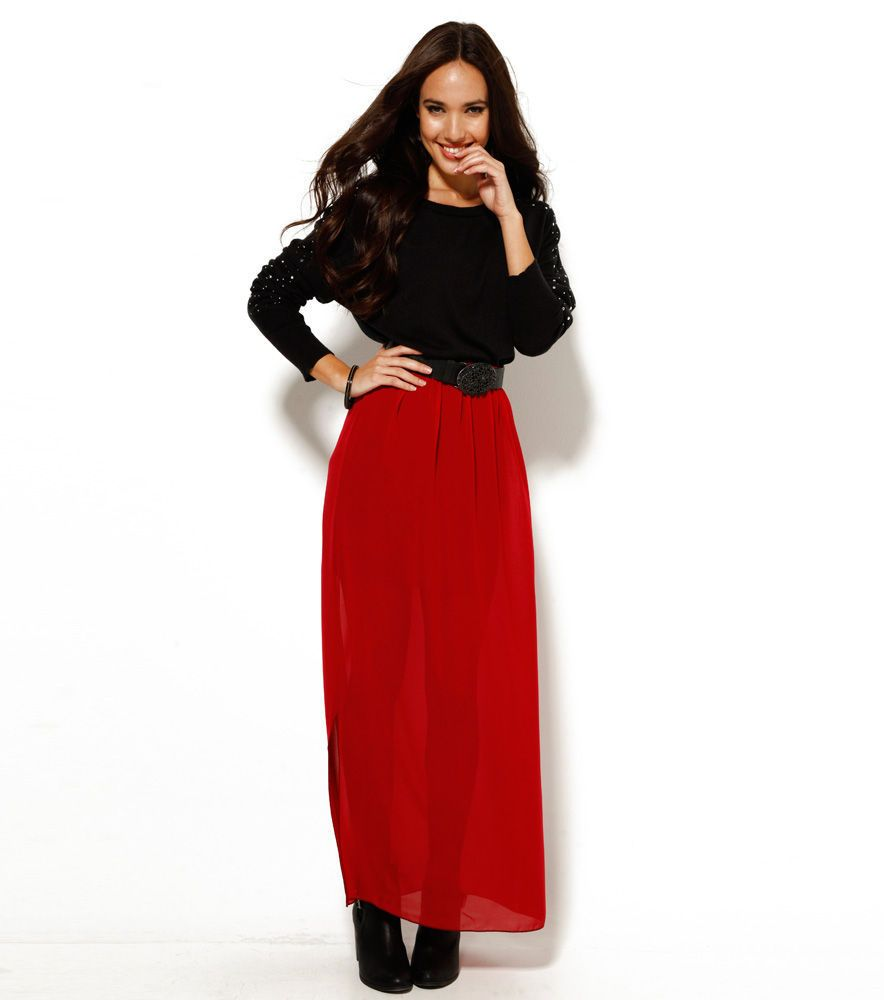 edaaf668ad Falda larga mujer roja Mujer TJ Venca