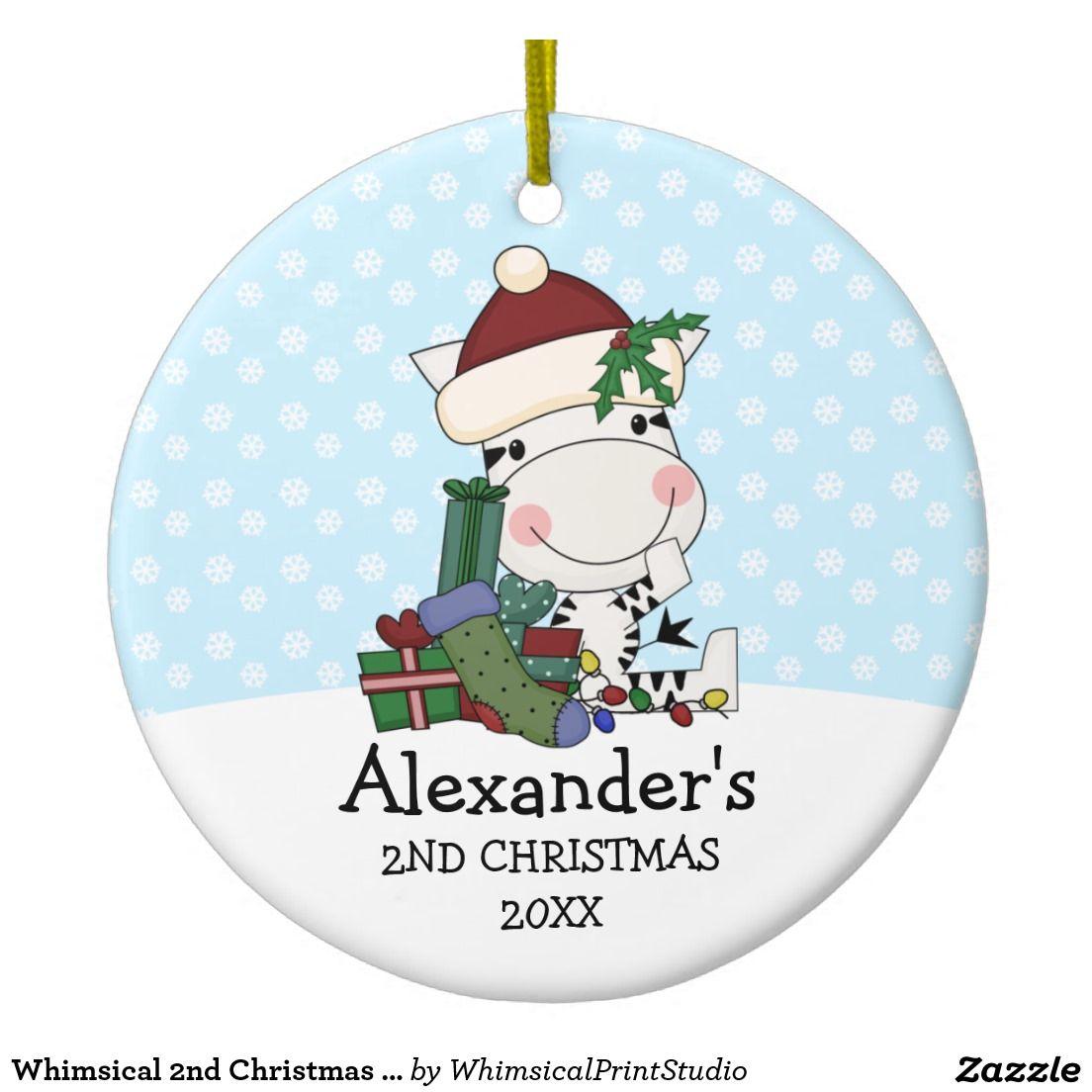 Whimsical 2nd Christmas Santa Zebra Personalized Ceramic Ornament