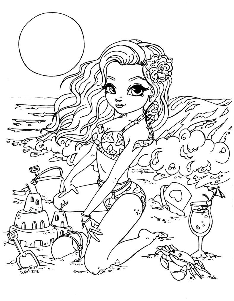 """Part of the Pin Up Cutie Pie serie This lineart is part of the special request made for . He wanted a pin up Cutie Pie version of his beautiful wife. I used the classic """"Betty Page at the beach"""" po..."""