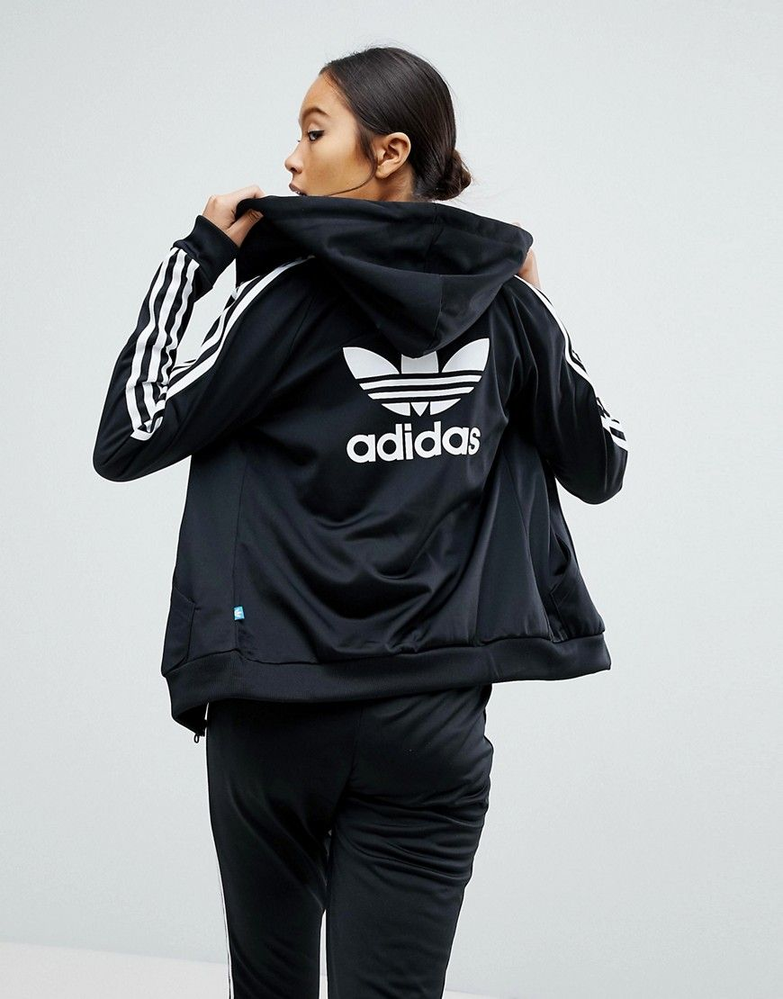 Adidas Originals Adidas Originals Slim Full Zip Hoodie In Black