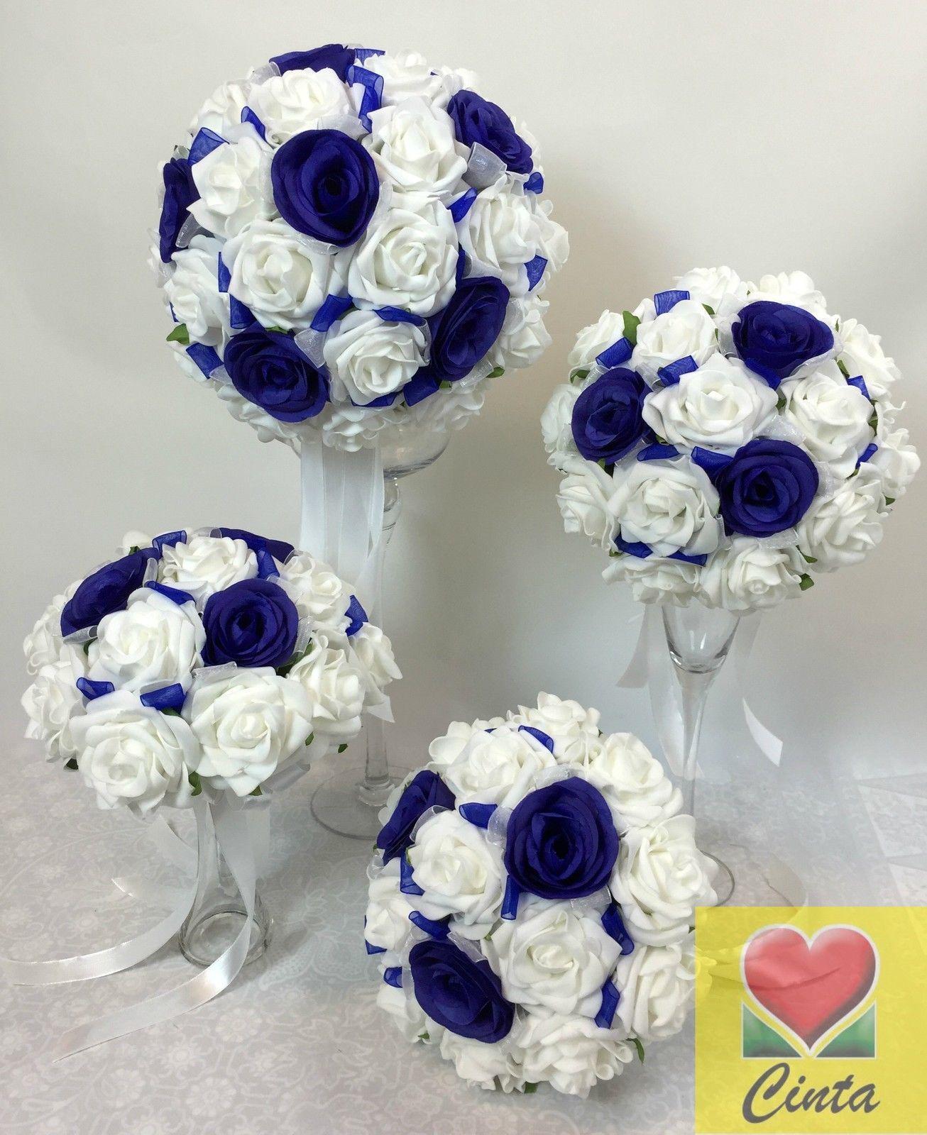 Artificial Silk Flower Dark Blue Rose White Foam Bridal Wedding Bouquet SET