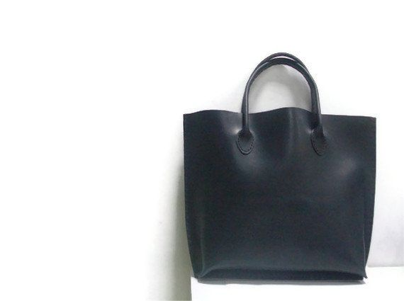 Black Leather Tote Bag Handsewn by LunaBluandCo on Etsy, $95.00 ...