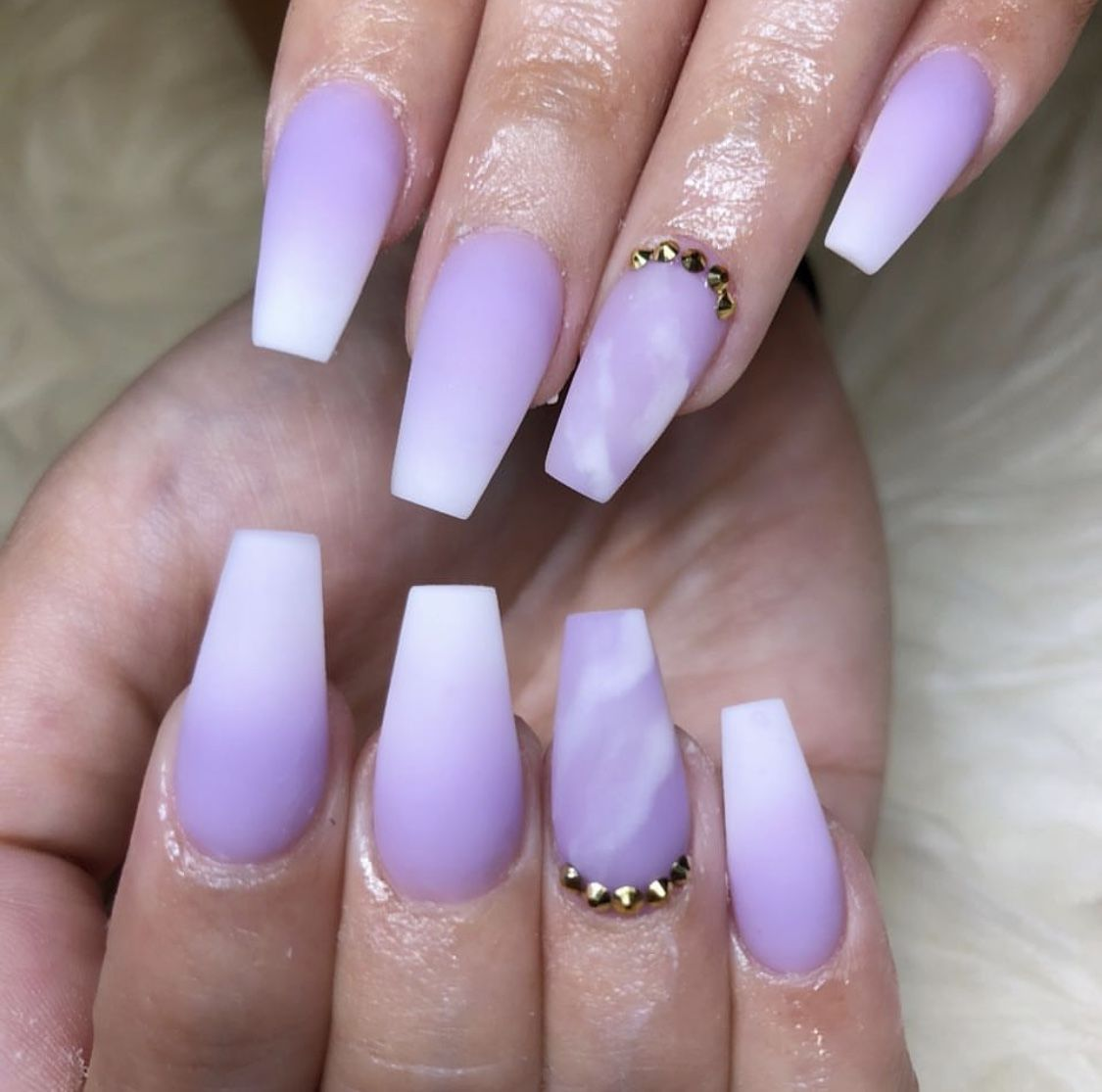 Lavender Purple And White Ombre Nails - NailsTip