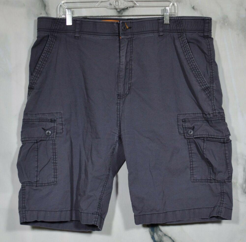 Wearfirst Mens Gray Grid Pattern Cargo Shorts 42 6 Pockets Stretch Waistband Ebay Cargo Shorts Cargo Shorts Men Belted Shorts [ 984 x 1000 Pixel ]