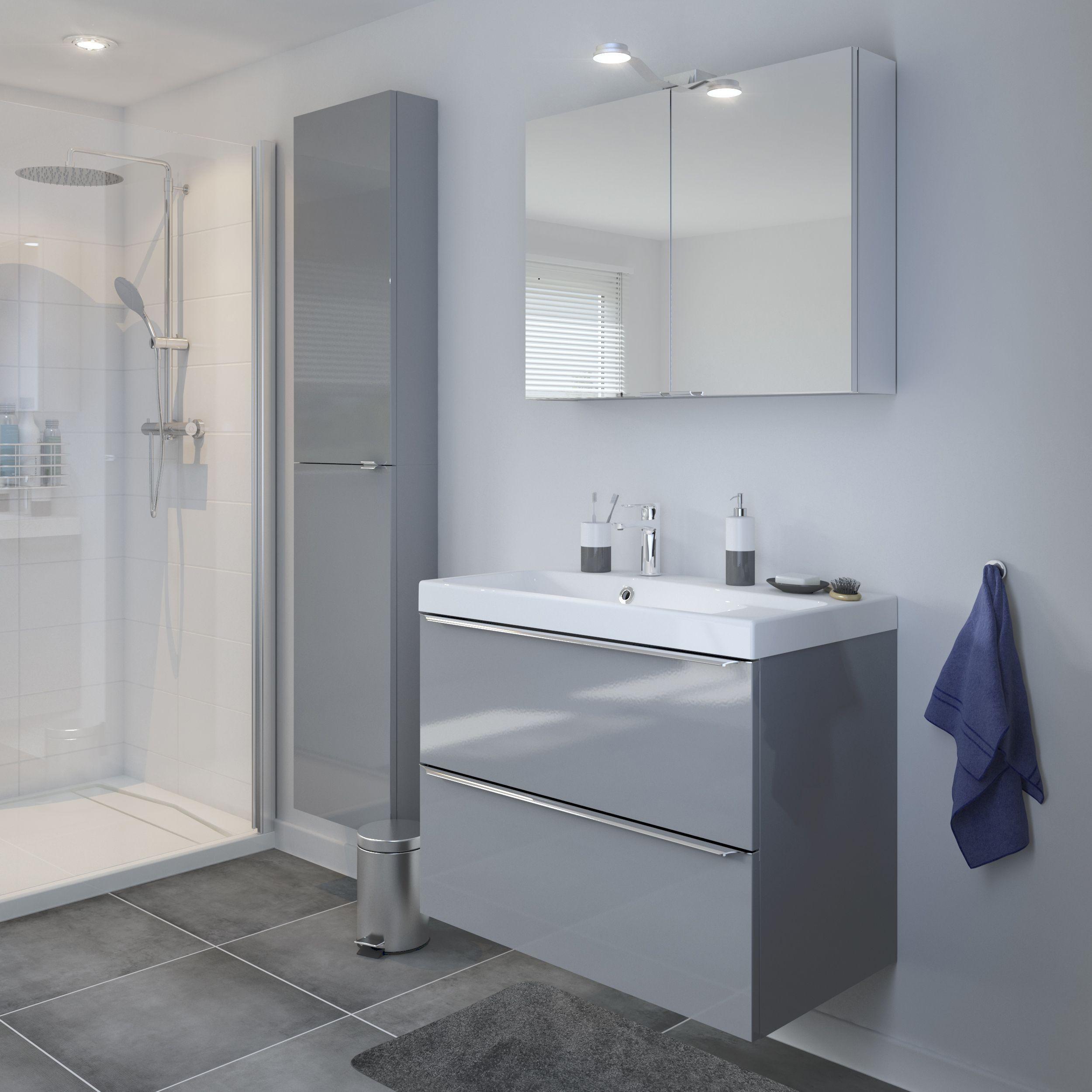 Goodhome Imandra Gloss Grey Vanity Basin Unit W 800mm In 2020