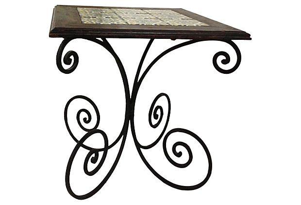 Wrought Iron Table W Spanish Tile Top On Onekingslane Com