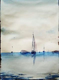 Resultado De Imagen De Aquarelle Sea With Sailboat Watercolor