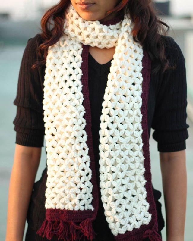 crochet winter A-line scarf
