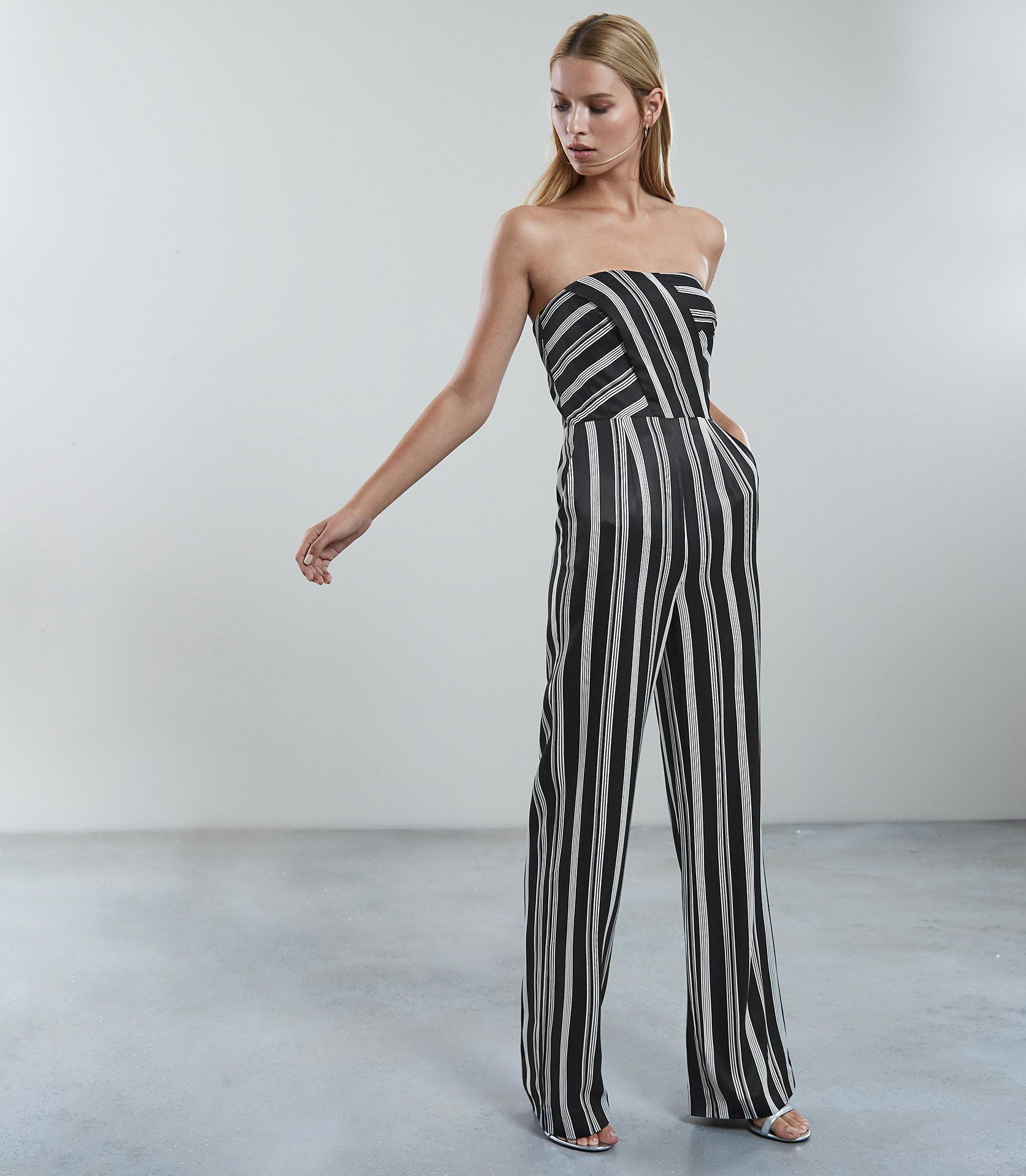 2bb6d44cf9a Reiss Vienna Striped Jumpsuit Black White - 12