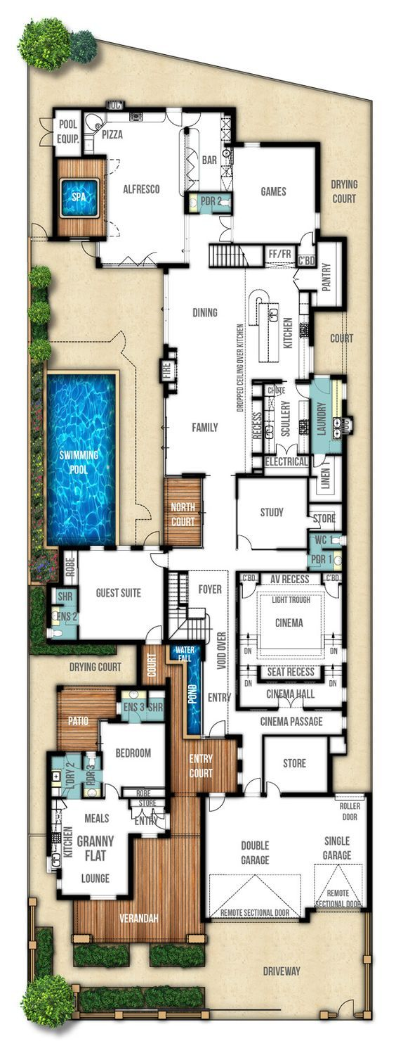 Two Storey House Designs Featuring Separate Granny Flat Dream House Plans Floor Plans House Design