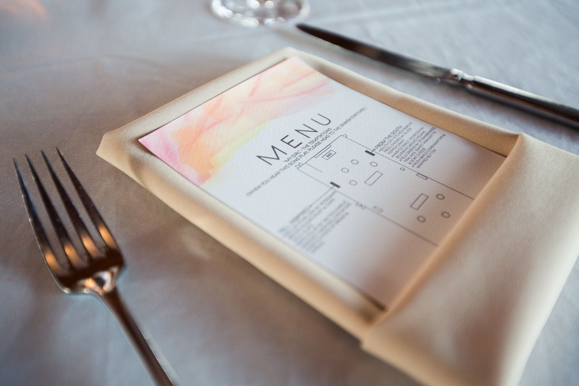 Our menu maps! Folded napkin   #DIY #reception #wedding #watercolor #2tphoto