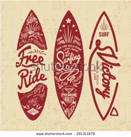 Vintage Surf Board With Type Stock Vector I Love Surfing Surf