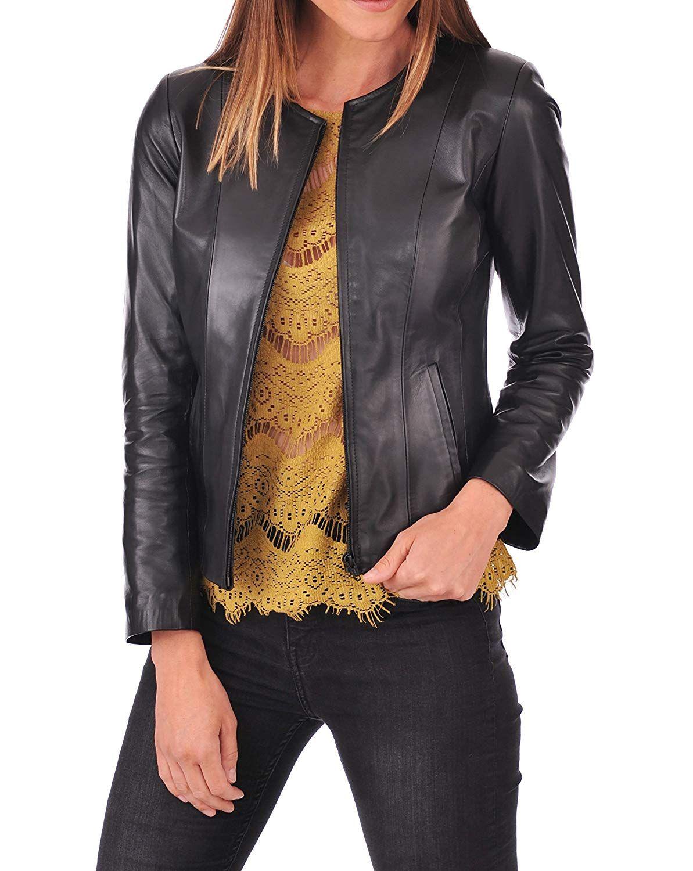 Ladies Casual Slim Fit Black Collarless Real Leather Biker