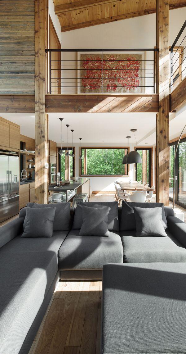 """Living Room The Lac Massawippi Residence By Huma Design et Architecture - gosto de tudo e especialmente do apara-corpo """"clean"""""""
