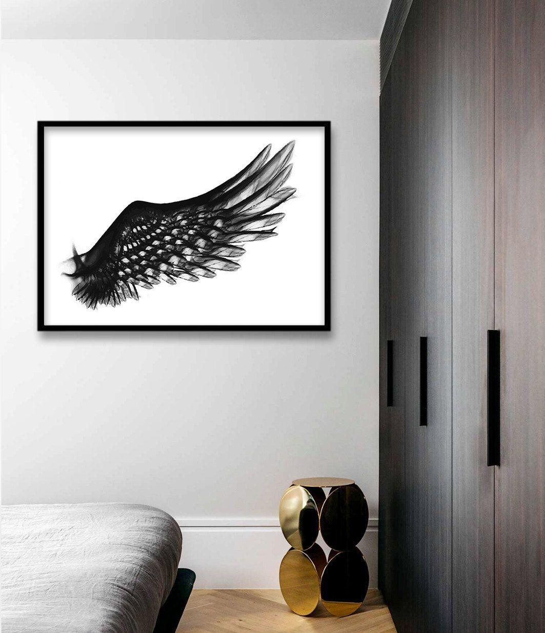 Large modern print bird wing art print bird art print black