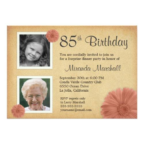85th Birthday Party Rustic Daisy 2 Photo Invites