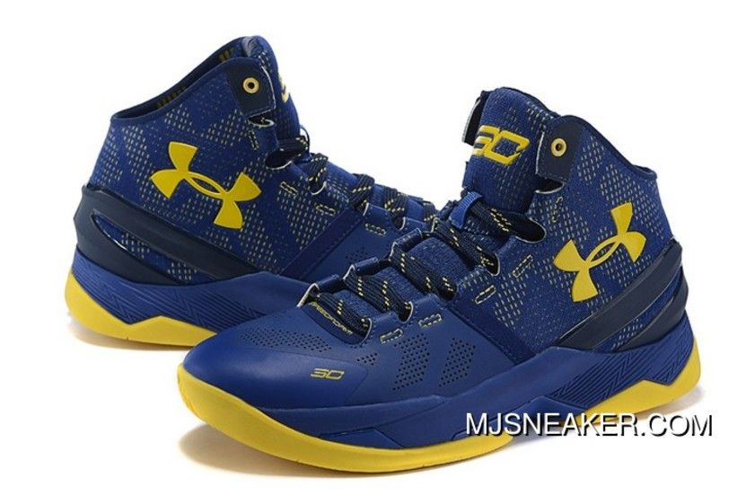 Under Armour Curry 2 Signature Drak Blue Yellow Basketball Shoes