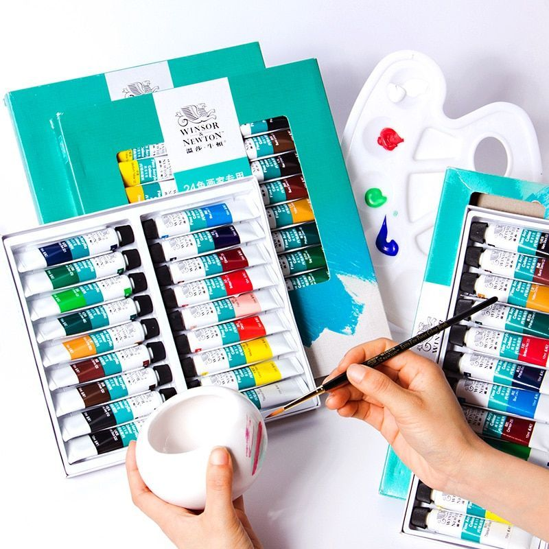 Windsor Newton Acrylic Paint Set Beginners 12 Colors Acrylic Painting Waterproof Not Easy To Fade To Diy Pigment A In 2020 Acrylic Paint Set Paint Set Acrylic Painting