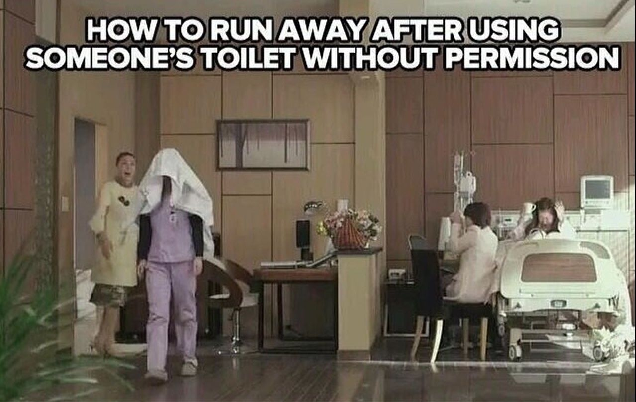 """""""How to run away after using someone's toilet without"""