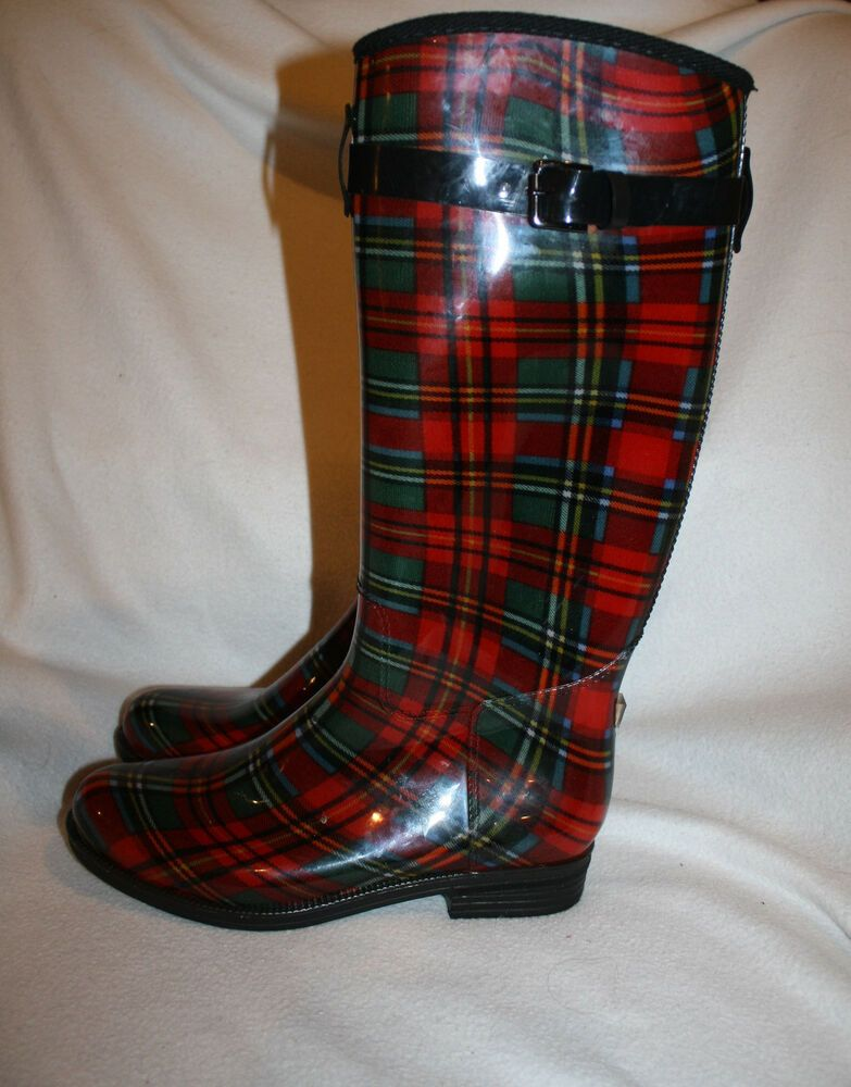 10875c2b514 Women Red Black Plaid Lined Rubber Equestrian Rain Boots Wellies Size 10 M   Unbranded  Rainboots  Casual