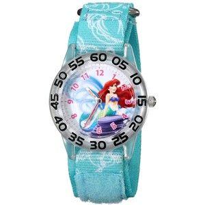 "Disney Kids' W001189 ""Time Teacher"" Ariel Watch With Printed Blue Nylon Band"