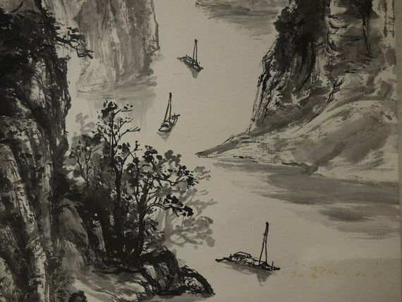 Large Chinese Scroll Landscape With Boat Going Through By Ritzco