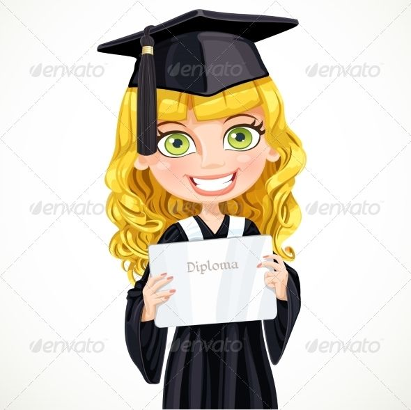 Girl in Cap and Gown Graduate | Cap, Gowns and Font logo