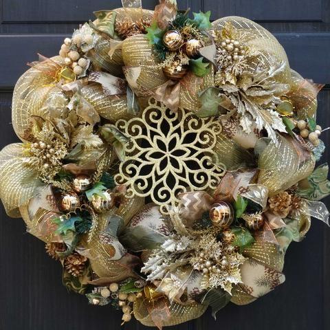 Elegant Gold Holiday Deco Mesh Wreath