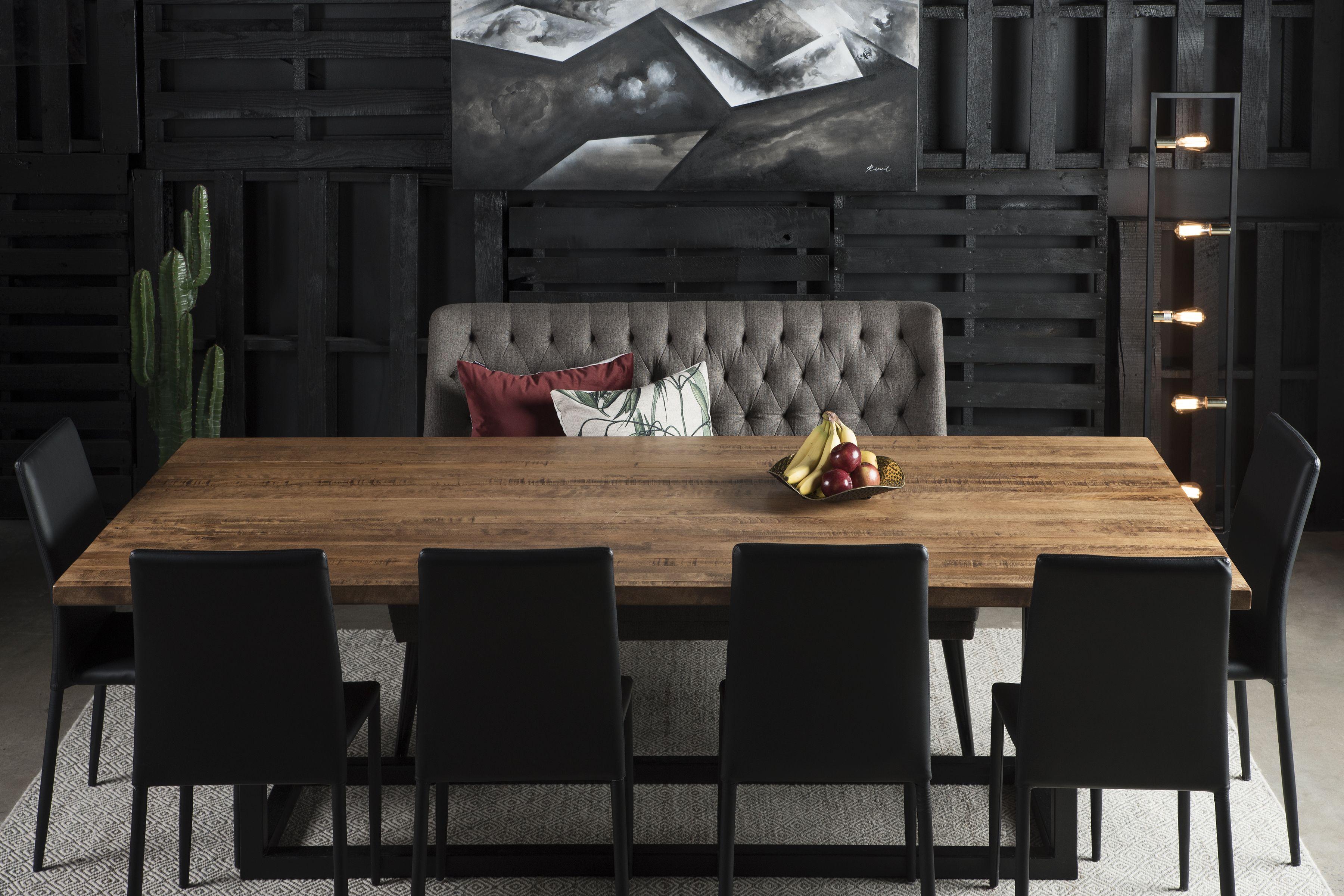 Table Kamouraska Merisier Ambree Foncee Grade B 96 X 42 Meridian Chaises Longbeach Noires Surmesure Lusine Table Banquette Bench Table Home