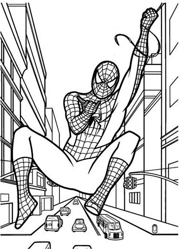 how to draw spiderman coloring page